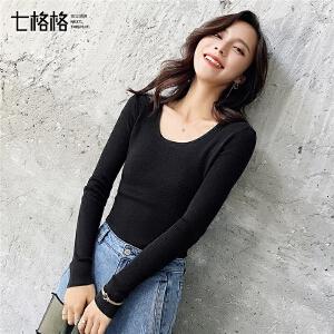 针织衫女套头秋装新款韩版修身性感露背镂空百搭长袖打底上衣