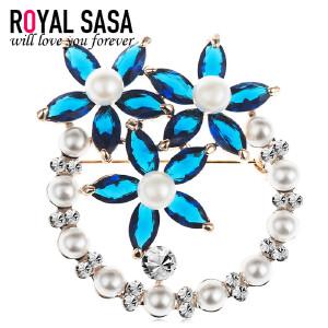 皇家莎莎RoyalSaSa胸针女韩版典雅花朵胸针领针胸花别针时尚配饰品