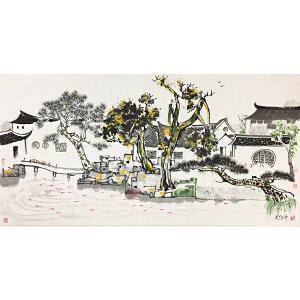 吴冠中《水乡街景》著名画家