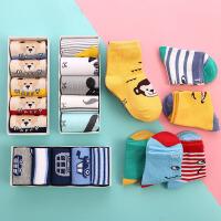 【满99减50】5双装 春夏季儿童礼盒袜全棉糖果色可爱卡通婴儿袜透气中筒宝宝袜子