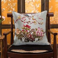 旗舰 新中式中国风古典织锦缎实木沙发抱枕 汽车靠垫套/含芯靠背