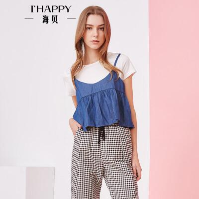 海贝夏季新款女装 时尚可调节撞色牛仔吊带两件套短袖T恤上衣