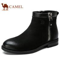 camel 骆驼男鞋 冬加绒保暖复古休闲皮靴轻盈防滑商务通勤皮鞋