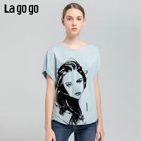 Lagogo2019年夏季新款圆领时尚洋气短袖蓝色印花T恤女IATT314C09