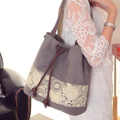 潮帆布包女包单肩包手提包休闲百搭简约女士文艺水桶包包 品质保证 售后无忧 支持货到付款