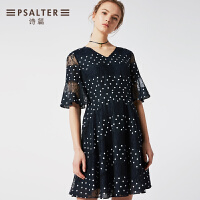 诗篇女装2018年夏季新款波点蕾丝网纱喇叭袖连衣裙