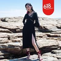 原创泰国巴厘岛海滩裙沙滩裙女夏2017新款海边度假连衣裙性感显瘦长裙GH032 黑色