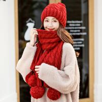 毛线帽子女秋冬季韩版百搭针织保暖帽甜美可爱护耳帽子围巾一体女
