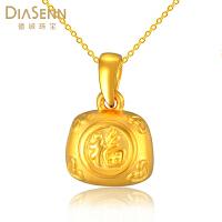 DIASENN/德诚珠宝长命锁吊坠项链福字黄金项链子3d硬金宝宝礼物首饰品