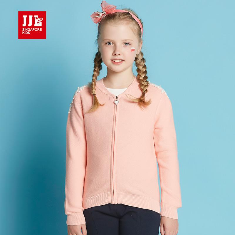 季季乐春秋新款纯色女童针织开衫圆领儿童毛衣外套GQM61047专柜同款