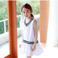 新款童装韩版女童海军领连衣裙儿童学院风童裙