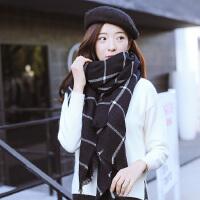 格子大披肩围巾两用女士冬季长款韩版黑白学生加厚软妹小清新围巾
