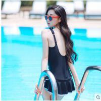可爱温泉度假露背韩国泳装 连体裙式保守遮肚显瘦小胸聚拢 泳衣