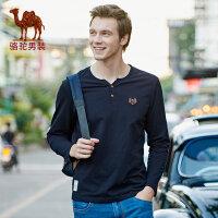 camel 骆驼男装 春季纯色长袖t恤衫男士时尚体恤青年休闲打底衫棉上衣潮