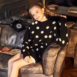 【2件3折价95.04元】唐狮冬新款女圆领波点套头针织衫毛衣韩版学生宽松潮甜美学生