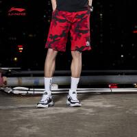 李宁短裤卫裤男士韦德系列短装夏季迷彩休闲男装运动裤AKSM253