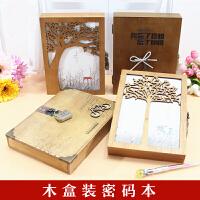 韩版复古中小学生记事本盒装日记本创意唯美手账本密码锁本 木盒装
