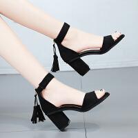 流苏一字带露趾凉鞋女夏季中跟韩版百搭高跟女士鞋罗马高跟女鞋子百搭