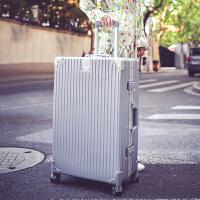 拉杆箱万向轮24寸铝框皮箱旅行箱女行李箱26寸包硬箱复古登机箱20 银色 防刮铝框箱豪华款 20寸【收藏送 透明箱套+