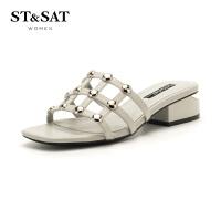 【限时3折】星期六(ST&SAT)夏季专柜同款羊皮革方跟圆头休闲拖鞋SS82110500