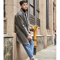 [2.5折价259元]唐狮流行大衣新款韩版呢大衣男中长款女加厚情侣风衣宽松外套