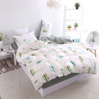 新款无印风水洗棉四件套良品被套床单床上用品三件套 加大四件套 被套220*240 床单235*25