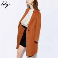 【2件5折价:1999.5元】【明星同款羊绒大衣Lily2018冬新款中长款系带双面羊绒大衣
