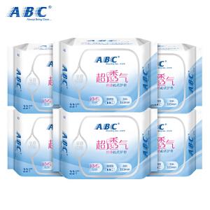 【8.20大牌日 跨店2件3折】ABC含KMS清凉配方丝薄棉柔163mm卫生护垫6包 共132片
