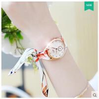 水钻立体刻度表小巧精美防水石英表女士手表可爱少女手表韩版绸带时尚布带表