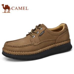 camel 骆驼男鞋秋季新品手工缝磨砂软牛皮防滑日常休闲鞋