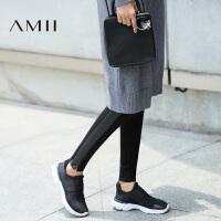 【AMII 超级品牌日】AMII[极简主义]冬新款PU拼接松紧腰大码九分打底裤女11643572