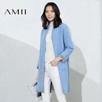 AMII[极简主义]冬女新双色反骨拼接拉链毛呢中长外套11673549