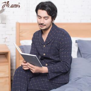 顶瓜瓜睡衣男士翻领格子空气层长袖套装 棉质面料开衫男士家居服套装