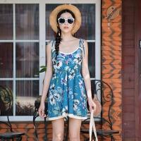 沙滩裙女夏2018雪纺吊带印花连衣裙度假短裙仙 蓝色