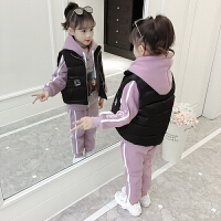女童冬装套装2018新款洋气童装中大童加厚儿童秋冬马甲保暖三件套