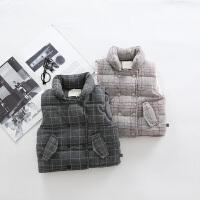 童装马甲1-2-3岁男童格子马甲背心保暖服婴幼宝上衣