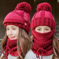 帽子女冬天针织帽骑车帽冬季保暖毛线帽一体围脖