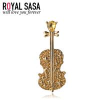 皇家莎莎 胸针胸花别针 日韩国板仿水晶时尚创意小提琴造型 外套开衫首饰配饰品 气质百搭款送