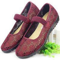 老北京布鞋女中老年人凉鞋太太软底夏季妈妈女鞋奶奶鞋子老人网鞋 红色 (网鞋15-48红色a)