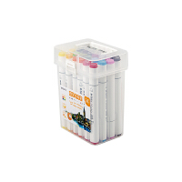 晨光(M&G)文具24色快干双头马克笔 纤维头学生重点标记记号笔 涂鸦笔绘画笔 24支/盒APMV0901