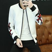 2017秋冬新品夹克外套红玫瑰印花青年时尚帅气棒球领大码男装夹克