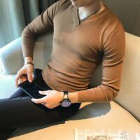 秋季韩版休闲糖果色打底针织衫男士修身百搭V领纯色毛衣线衣潮