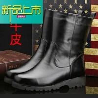新品上市马靴男高筒靴真皮长筒冬季男士雪地靴加绒蒙古保暖牛皮马丁靴