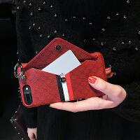 iPhone8plus手机壳苹果XS MAX钱包挂绳6S/7P高档潮牌女神XR挂脖 I6/6S 红色蜜蜂插卡
