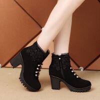 【单棉两款】秋冬季高跟女靴花边短靴蕾丝流苏防滑马丁靴保暖女鞋