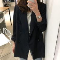 2019小西装外套女春秋黑色休闲双排扣西服外套 女士西装潮