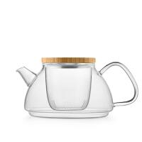 尚明加厚过滤耐热玻璃泡茶花茶壶 花草水果玻璃功夫透明茶具套装 弧形手把900ML+6小杯 T95