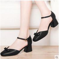 古奇天伦春季新款单鞋夏季韩版百搭一字带方头黑色粗跟高跟鞋8628