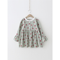 女童连衣裙秋冬草莓印花连衣裙宝宝长袖裙子
