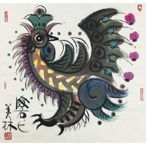 韩美林《雄鸡报春》著名画家